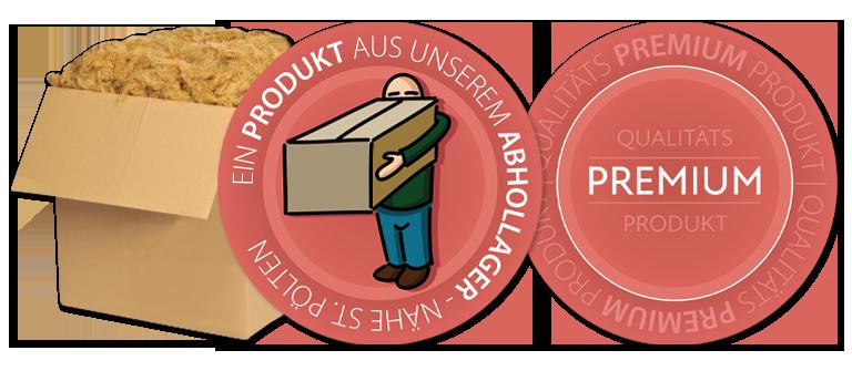 """Bild von Stopfwolle in einem Karton mit zwei Icons: """"Ein Produkt aus unserem Abhollager"""" und """"Qualität Premium Produkt"""""""